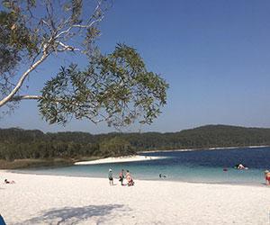 La spiaggia di Hervey bay dove all'arrivo sarete ospiti del college di fronte all'isola di Fraser